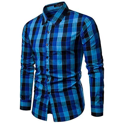 IYFBXl Herren Business/Basic Shirt - Hahnentritt/Plaid Print Klassischer Kragen/Langarm, Blau, M -