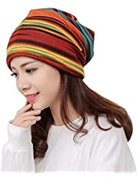 smileq invierno gorro de rayas de mujer volantes cáncer gorro de punto  bufanda cuello turbante Pañuelo para la… 50e82854770