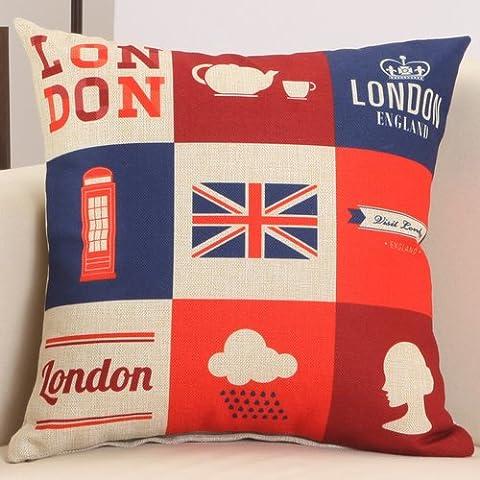 Deako stampa personalizzata divano federa retrò bandiera britannica cuscini con nucleo cuscino auto(40 * 40cm (federa cuscino + core) nove Gumi flag)