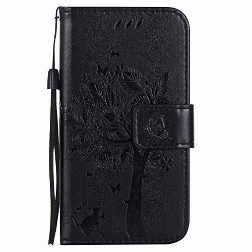 Yiizy Handyhülle für Nokia Lumia 635 RM-974 RM-975 Hülle, Baum-Muster Entwurf PU Ledertasche Beutel Tasche Leder Haut Schale Skin Schutzhülle Cover Stehen Kartenhalter Stil Schutz (Schwarz) (Nokia Lumia 635 Handy Fall)