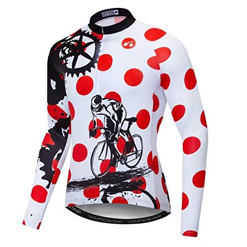Weimostar Radfahren Jersey Herren Atmungsaktiv Langarm Reflektierende Fahrrad Shirts MTB Tops Schädel Schwarz Rot Größe XL -
