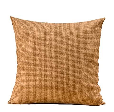Eonshine Folk Style Coton Lienen en microfibre de rembourrage généreux Fluffly décoratifs carré Couvre-lit oreillers, Lot de 1(pas de inserts 45,7x 45,7cm, Beige))