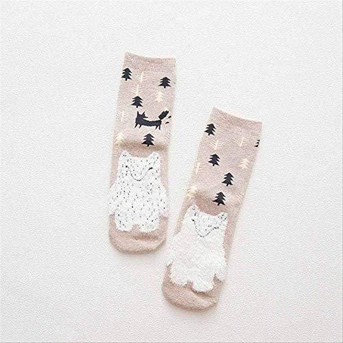 DYGZS Weihnachtssocken Herbst Winter Warm Terry-loop Socken Süße Tier Muster Lässigsocken Lustige Socken Sokken Weihnachten Socken Geschenk Khaki Socken -