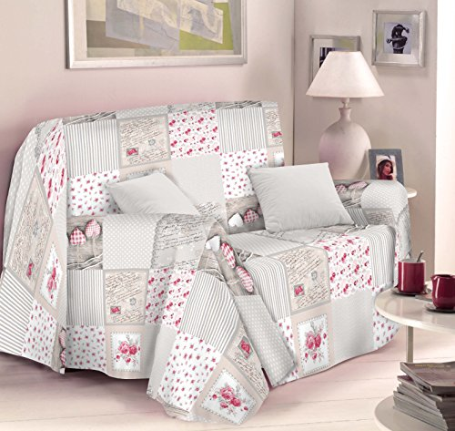 Copritutto foulard copridivano creativity in misto cotone. modello shabby rosa. misura 250 x 250 cm