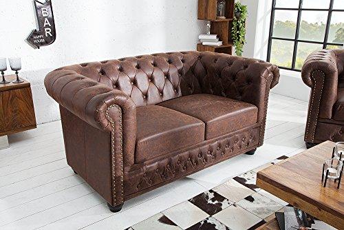 Hochwertiges Chesterfield Sofa 2-Sitzer vintage braun echtes Sattelleder Couch Couchgarnitur Zweisitzer Ledercouch Leder