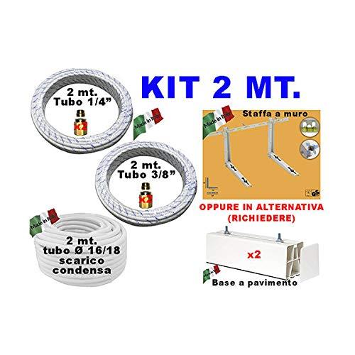 INSTALLATION KIT CONDITIONER 2 TUYAUX CUIVRE 1/4 3/8 MT TUBE SUPPORT de MONTAGE CONDENSATS