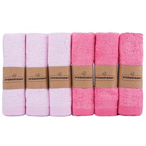 Storeofbaby Waschlappen Gesicht Bambus Klein Handtuch Set 6 für Mädchen