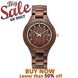 Nature Walnussholz Herren-Armbanduhr omelong® mit Japan Quarz-Uhrwerk + Woody Armbanduhr Face + Analog Display