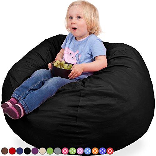 Kids Kinder Sitzsack in Schwarz - Waschmaschinenfest - Großer, Weicher und Komfortabler Bezug mit Memory Schaumstoff Füllung - Gemütlicher Gaming Sitz Sack & Bett Möbel Bean Bag