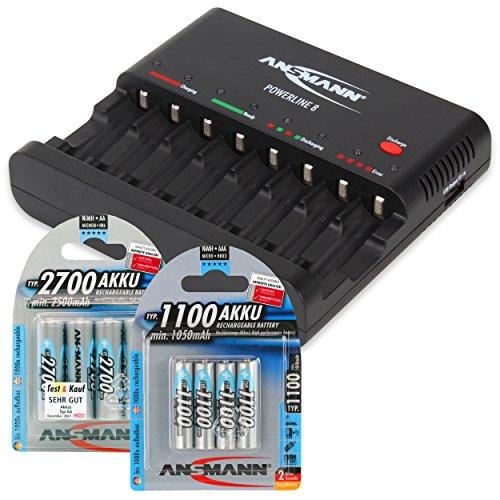 ANSMANN Batterieladegerät Powerline 8 für Akku Batterien inkl. 4x AA 2700mAh & 4x AAA 1100mAh Accus - Universal Ladegerät, 8-fach multi Akkuladegerät zum Laden & Entladen für AA & AAA Akkus + USB