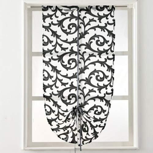 Reru Vorhang Vorhang Fenster Haus Textil Vorhang Tüll W80cm L160cm Stabtasche schwarz - Schwarze Farbtöne Römische