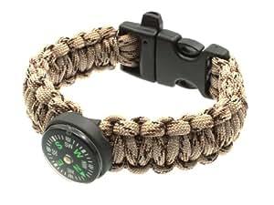 BE-X Paracord Bracelet de survie avec boussole, sifflet & Désert (core de 4 cordes, 27,5 cm de long)