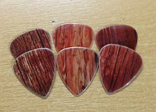 6 double sided custom picks printed WOODEN timber pattern effect plectrums
