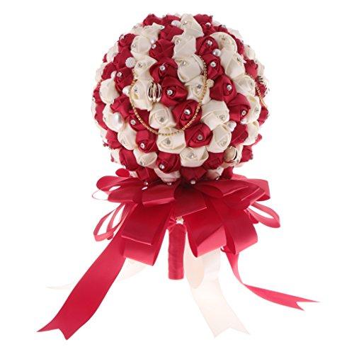 tliche Satin Rosen Blumen Blumenstrauß Hochzeit Dekoration - Rot, 25 cm (Blumen Bouqet)