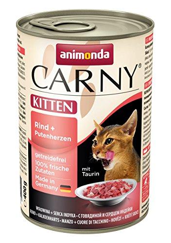 animonda Carny Kitten Katzenfutter, Nassfutter für junge Katzen, aus Rindund Putenherzen (6 x 400 g)