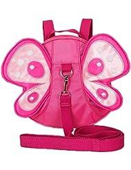 Bébé Enfant Sac de Harnais de Sécurité Papillon Forme LAAT Sac Anti-Perte et Danger Dans les Foules Sac à Dos avec Sangles Porte Bébé pour Marcher Suivre Parents Dans la Route Sécuritaire