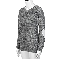 Transer® Hearted Sleeve Knitted Pullover Long Sleeve Sweater , Women Casual Loose Knitted Jumper Outwear Top