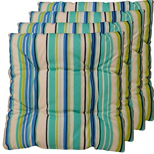 4er Set Sitz-kissen aus deutscher Herstellung, Stuhl-polster Blau, Grün, Beige 40x40 cm