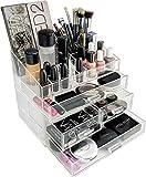 #8: Sunam'S Makeup Organizer Combo Set ( 3 layer drawer + 16 pcs lipstick Holder Organizer ) Clear Acrylic Cosmetic Makeup Organizer // Jewelry Organizer // Storage Display Stand Case // Rack Holder Boxes