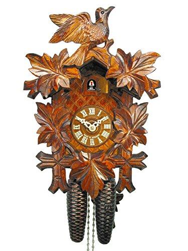 Schwarzwälder Kuckucks-Uhr/Schwarzwald-Uhr (original, zertifiziert), 8-Tage-Werk, mechanisch, 5 Laub-Blätter, 1 Vogel, Kukusuhr, Kukuksuhr, Kuckuksuhr (schönes Weihnachts-Geschenk)