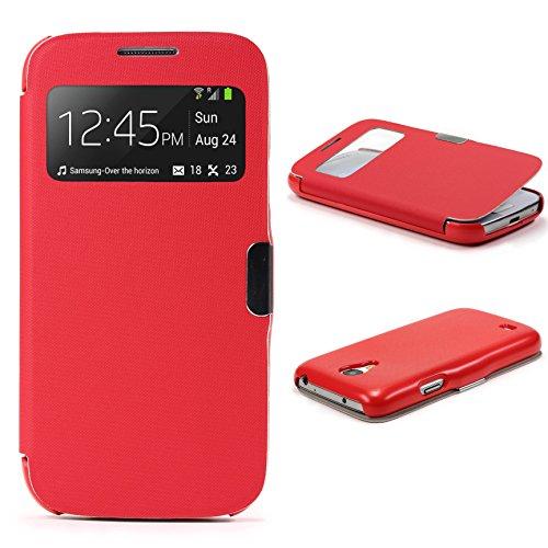 Urcover® View Case Handy Schutz-Hülle | Kompatibel mit Samsung Galaxy S4 Mini | Hart Kunststoff Rot | Elegant Wallet Cover Sicht-Fenster | leichte Schale dünne Tasche (S4 Handtasche Fällen)