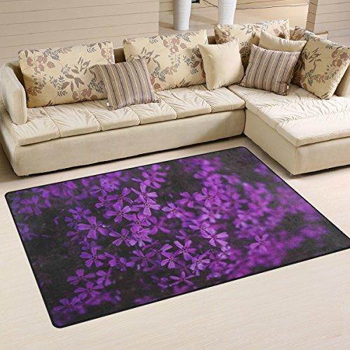 Yibaihe, leicht, Bedruckt mit Deko-Teppich, Teppich, modern, Lila Blumen wasserabweisend stoßfest. Für Wohn- und Schlafzimmer 80x 51cm (31x 20), 100% Polyester, Multi, 153 x 100 cm (60 x39 in) (Teppich Blumen Moderne)