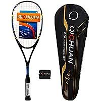 QICHUAN Squash Schläger Racket Set 100% Nano Graphit Carbon 125g mit Tasche & Griffband Erwachsene