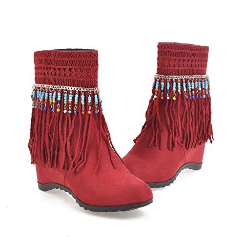à UH Compenses et Chaussures Femmes Bottines avec Talons Suede Fourrure Rouge Plateforme Indiennes Bout Rond vqwqSrx0X