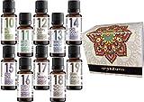Set von 10 (zehn) Duftöle in Geschenkbox. Aromatherapy Essentials.Pack 10-19 Made in Germany. Anis, Anti Stress, Erkältung, Harmonie, Kokos, lotus, Schokolade, Zimt, Pinacolada, Geranie