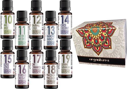 Set von 10 (zehn) Duftöle in Geschenkbox. Aromatherapy Essentials.Pack 10-19 Made in Germany. Anis, Anti Stress, Erkältung, Harmonie, Kokos, lotus, Schokolade, Zimt, Pinacolada, Geranie (Essentials Geschenk)