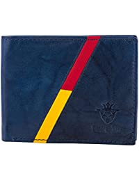 Buff & Jack Stylish Genuine Leather RED/YELLOW STRIPE Wallet For Men (Blue)