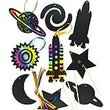 Kratzbild-Anhänger - Weltall - Sonnensystem - scratch art für Kinder zum Basteln - 12 Stück