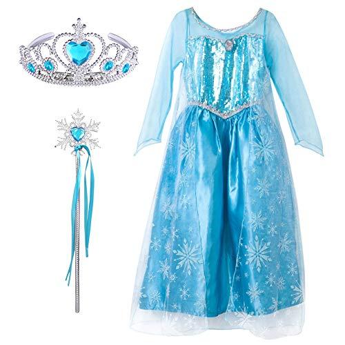 FStory&Winyee Kinder Kostüm Mädchen Prinzessin Kleid für Karneval Eiskönigin ELSA Kostüm Set Diadem Zauberstab Cosplay Verkleidung Karneval Outfit Weihnachtskostüm Fasching Geburtstag Geschenk (Frozen Elsa Schnee Königin Kostüm)