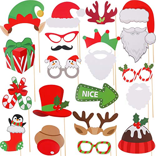 Jovitec 82-teiliges Weihnachts-Foto-Requisiten-Set für Weihnachten, Event, Party, Gastgeschenke und Weihnachtsdekoration, Kunst-Handwerk (Und Für Kunsthandwerk Weihnachten Kunst)