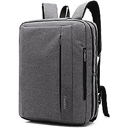 CoolBELL15,6 Zoll umwandelbar Laptop Tasche / Rucksack Messenger Bag Oxford Gewebe Umhängetasche Backpack Mehrzweck Aktentasche für Laptop / Macbook / Tablet / Herren / Damen(Grau)