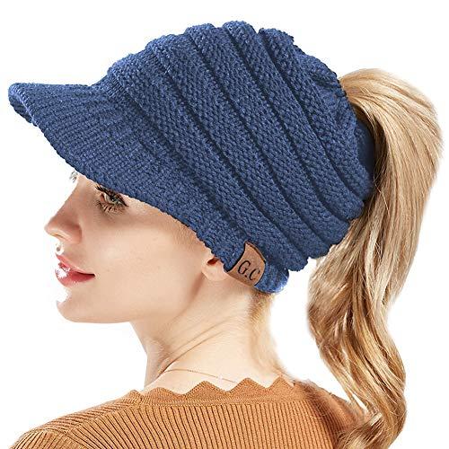 34dc7748f9f Tacobear Mujer Sombreros de Invierno Gorro de Punto y el Agujero Knit  Ponytail Beanie Hatpara Invierno
