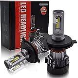 BeiLan Bombilla H4 LED Coche,60W 10000LM HB2 9003 Faros Delanteros Bombillas para Moto, Reemplazo de la Luz Halógena, 12V-24V, Xenon Blanco 6500K, 2 Lámparas