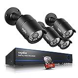 SANNCE Videoüberwachung Überwachungssystem 8CH 1080P AHD DVR Recorder mit 4 x 1080P Überwachungskameras für innen und außen Bereich plus 1TB Festplatte Nachtsicht bis zu 30 Meter