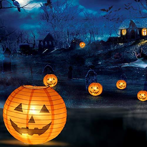 """KESOTO Halloween Lampions Kürbis Set, 10 Stück Hängedekoration für Halloween Party (6""""+ 8""""+10""""+12"""") - 6"""