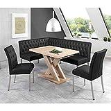 Pharao24 Eckbankgruppe in Schwarz und Eiche Sonoma ausziehbarem Tisch