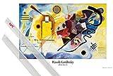 1art1 Poster + Hanger: Wassily Kandinsky Poster (91x61 cm) Gelb Rot Blau, 1925 Inklusive EIN Paar Posterleisten, Transparent