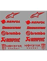PEGATINAS SPONSORS MOTO GP R326 STICKERS AUFKLEBER DECALS AUTOCOLLANTS ADESIVI BRIDGESTONE (ROJO)