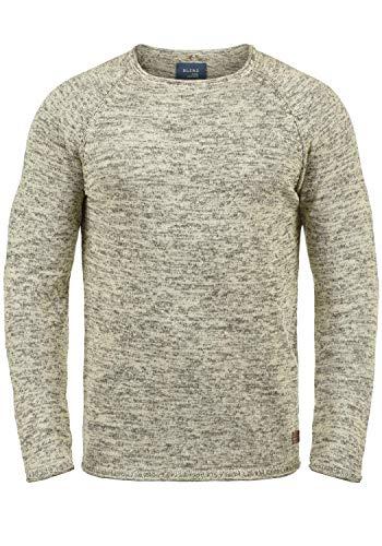 Blend Dan Herren Strickpullover Feinstrick Pullover Mit Rundhals Und Melierung, Größe:S, Farbe:Bone White/Black (71525)