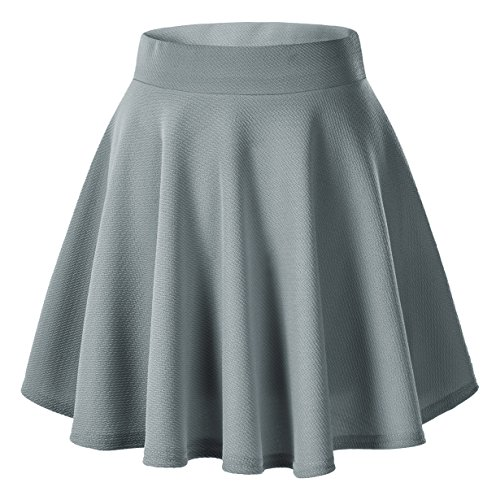 Urban goco donna moda svasata mini gonna da pattinatrice versatile elastica solida colore gonna grigio l