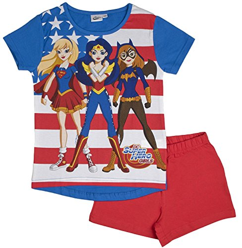 DC Super Hero Girls Short Pyjamas Comic Short Sleeved Shortie PJs Kids Size 3-10 Years