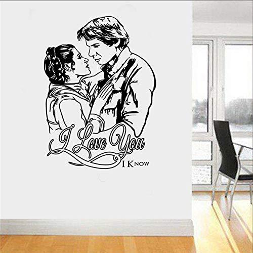 Mrhxly Prinzessin Leia & Han Solo Liebe Wand Vinyl Aufkleber Aufkleber Kindergarten Kinderzimmer Kunst Dekor Wandtattoos 58 * 80 Cm