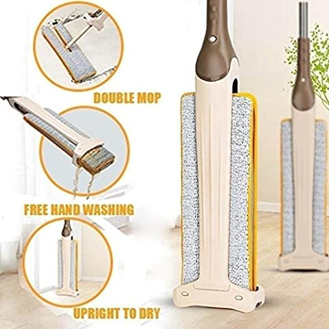 Telescopic Mop with 2 Mop Cloth, sunnymi® Double Sided Non Hand Washing Flat Mop Wooden Floor Mop Dust Push Mop Home Cleaning Tools for Hardwood, Tile Floors,Wall, Window, Ceiling