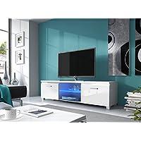 Home innovation – Meuble de télévision LED, Salon-Salle à manger, Blanc Mate et Blanc Laqué, Dimensions: 150x 40 x 42 cm de profondeur.