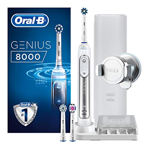 Oral-B Genius 8000 CrossAction Electric Toothbrush, 1 Silver App Connected Handle, 5 Modes with Sensitive and Gum Care, Pressure Sensor, 3 Toothbrush Heads, Premium Travel Case, 2 Pin UK Plug