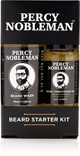 Percy Nobleman Kit Cuidado fácil de la barba–Coffret aceite y Champús–Limpiador para la barba composés de 99% de ingrédients comercio de la naturaleza